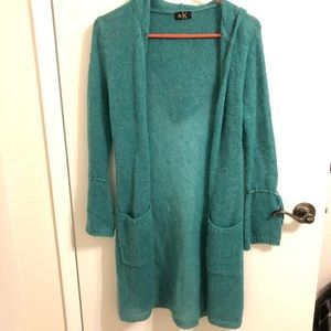 Sweaters - Teal Hooded Cardigan